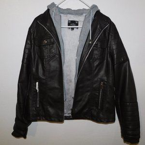 NEW Black Leather Jacket with Hoodie